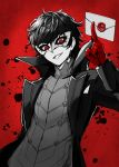 1boy :d amamiya_ren arm_behind_back arm_up between_fingers black_coat black_hair blood blood_splatter coat commentary_request gloves grin highres holding_envelope kuroi_susumu logo long_sleeves looking_at_viewer male_focus mask nintendo open_clothes open_coat open_mouth persona persona_5 red_background red_eyes red_gloves smile solo super_smash_bros. teeth upper_body white_skin