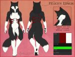 black_flesh black_fur black_hair black_pawpads canid canine cedarwolf claws felicity_longis_(character) female fox fur fur_markings green_eyes hair long_hair looking_at_viewer mammal markings model_sheet multiple_angles nude pawpads plantigrade red_fur solo white_fur