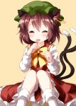 1girl animal_ear_fluff animal_ears blush bow bowtie brown_hair cat_ears cat_tail chen earrings eyebrows_visible_through_hair eyes_closed green_headwear hat highres jewelry long_sleeves multiple_tails red_skirt ruu_(tksymkw) short_hair simple_background sitting skirt solo tail tongue tongue_out touhou yellow_background yellow_neckwear