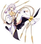 1girl ahoge bangs black_skirt blue_eyes boots braid breasts chains cleavage_cutout cross detached_collar dress eyebrows_visible_through_hair floating floating_hair floating_weapon full_body gold_trim hair_between_eyes head_tilt highres honkai_(series) honkai_impact_3 jinyuan712 juliet_sleeves kallen_kaslana large_breasts long_hair long_sleeves looking_at_viewer nun official_art parted_lips puffy_sleeves sidelocks silver_hair simple_background single_braid skirt smile solo thigh_boots thighhighs white_background white_dress white_footwear wide_sleeves