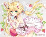 1girl :o ahoge ameto_yuki animal_ear_fluff animal_ears artist_name bangs blonde_hair blush bow breasts cat_ears cat_tail cleavage commentary_request dress eyebrows_visible_through_hair fingernails flower food food_themed_hair_ornament fruit green_eyes grey_background hair_between_eyes hair_bow hair_flower hair_ornament hands_up holding holding_spoon leaning_forward long_hair looking_at_viewer medium_breasts open_mouth original oversized_object solo spoon strapless strapless_dress strawberry strawberry_hair_ornament tail very_long_hair white_bow white_dress white_flower wrist_cuffs
