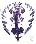 1girl :o blue_hair bound bound_legs breast_cutout breasts dress eyebrows_visible_through_hair floating floating_object full_body hair_intakes hands_together headgear highres hobble_dress large_breasts logo looking_at_viewer mecha_musume nadare-san_(nadare3nwm) original purple_eyes solo white_background