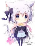 1girl :o animal_ear_fluff animal_ears artist_name bangs black_bow black_footwear black_jacket black_legwear blazer blue_cardigan blue_eyes blush bow cardigan cat_ears cat_girl cat_tail chibi commentary_request eyebrows_visible_through_hair food fringe_trim full_body grey_skirt hair_between_eyes hair_bow hair_ornament hairclip holding holding_food jacket long_hair long_sleeves one_side_up open_blazer open_clothes open_jacket original pantyhose parted_lips pink_scarf plaid plaid_skirt pleated_skirt scarf shiratama_(shiratamaco) shoes signature silver_hair skirt sleeves_past_wrists solo standing star tail taiyaki very_long_hair wagashi white_background