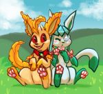 2019 alternate_color ambiguous_gender black_nose blue_eyes blue_sky canid cloud day digital_media_(artwork) dipstick_tail duo eeveelution fan_character feral front_view fur glaceon glacey grass green_fur green_tail leafeon mammal multicolored_fur multicolored_tail nintendo one_eye_closed open_mouth orange_fur orange_tail outside pawpads pink_pawpads pocketpaws pokémon pokémon_(species) quadruped red_eyes signature sitting sky smile tan_fur two_tone_fur two_tone_tail video_games white_fur white_tail wink