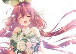 1girl blush bouquet eyes_closed flower granblue_fantasy leaf low_twintails mizuno_(suisuiw) petals pink_hair smile twintails white_background yggdrasil_(granblue_fantasy)