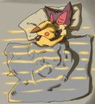 2014 bed bow_tie embrace eyes_closed fan_character hi_res male nintendo oscar_the_purrloin pikachu pokémon pokémon_(species) purrloin sleeping video_games