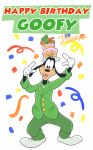2018 4_fingers anthro birthday birthday_cake black_nose buckteeth cake canid canine canis clothed clothing confetti disney domestic_dog english_text food fully_clothed gesture gloves goofy_(disney) green_clothing happy_birthday harara hat headgear headwear hi_res looking_at_viewer mammal pointing signature simple_background smile teeth text white_background white_clothing white_gloves