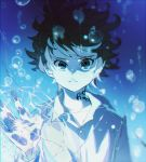 1girl air_bubble broken_glass bubble closed_mouth crack cracked emma_(yakusoku_no_neverland) glass grey_eyes hand_up highres ke02152 long_sleeves looking_at_viewer neck_tattoo number_tattoo shirt short_hair simple_background solo standing tattoo touching underwater water white_shirt yakusoku_no_neverland