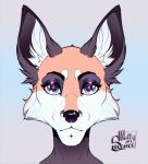 2019 black_nose canid canine digital_media_(artwork) fox fur hi_res inner_ear_fluff kittythesilence mammal orange_fur purple_eyes solo