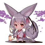1girl animal_ear_fluff animal_ears bangs barefoot chibi closed_mouth commentary_request eyebrows_visible_through_hair fox_ears fox_girl fox_tail full_body hair_between_eyes hair_ribbon hair_rings holding_lantern japanese_clothes kimono lantern long_hair long_sleeves obi original patches red_eyes red_ribbon ribbon sash shadow sidelocks silver_hair smile solo standing tail very_long_hair white_background white_kimono wide_sleeves yuuji_(yukimimi)