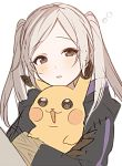 1girl blush brown_eyes female_my_unit_(fire_emblem:_kakusei) fire_emblem fire_emblem:_kakusei gen_1_pokemon holding holding_pokemon long_sleeves my_unit_(fire_emblem:_kakusei) parted_lips pikachu pokemon pokemon_(creature) ryon_(ryonhei) simple_background twintails white_background white_hair