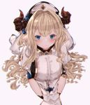 >:( 1girl bangs blonde_hair blue_eyes blurry blush breasts cleavage commentary_request depth_of_field draph eyebrows_visible_through_hair eyes granblue_fantasy hair_between_eyes hair_over_shoulder highres large_breasts long_hair long_sleeves looking_at_viewer pelvic_curtain pointy_ears puffy_long_sleeves puffy_sleeves rastina rice_tea serious sidelocks thighs v-shaped_eyebrows v_arms veil very_long_hair wavy_hair white_background