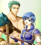 1boy 1girl :d blue_eyes blue_gloves blue_hair blue_shirt breastplate collarbone delsaber dieck fingerless_gloves fire_emblem fire_emblem:_fuuin_no_tsurugi gloves gradient gradient_background green_background green_eyes green_hair holding_polearm looking_at_viewer open_mouth scar scar_across_eye shirt short_hair short_sleeves shoulder_armor smile spaulders spiked_hair sword thany weapon white_shirt white_sleeves