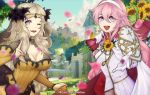 2girls alternate_costume blonde_hair blue_sky breasts bride cape cleavage cloud dress fire_emblem fire_emblem_if flower gloves grey_eyes groom hair_flower hair_ornament hairband highres large_breasts leitz_acaroline long_hair long_sleeves multiple_girls one_eye_closed open_mouth ophelia_(fire_emblem_if) orange_dress petals pink_eyes pink_hair sky soleil_(fire_emblem_if) sunflower twitter_username upper_body wedding_dress white_gloves white_hairband