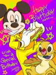 2018 3:4 3_toes alien antennae_(anatomy) anthro black_nose bottomwear brown_eyes brown_pawpads buckteeth chest_tuft clothing dipstick_antennae disney duo english_text experiment_(species) food fur gloves green_mouth happy_birthday japanese_text lilo_and_stitch male mammal mickey_mouse mouse multicolored_antennae murid murine one_eye_closed open_mouth open_smile pants pawpads purple_tongue red_nose reuben rodent sandwich_(food) saowdmm silly sitting smile submarine_sandwich teeth text toes tongue tongue_out topwear tuft white_clothing white_gloves yellow_bottomwear yellow_clothing yellow_fur yellow_pants yellow_topwear