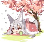 1girl :d animal_ear_fluff animal_ears bangs cherry_blossoms chibi commentary_request cup day eyebrows_visible_through_hair flower fox_ears fox_girl fox_tail fur_trim hair_between_eyes kotatsu long_hair long_sleeves lying on_stomach open_mouth original outdoors pink_flower red_eyes silver_hair smile solo table tail tree under_kotatsu under_table very_long_hair yunomi yuuji_(yukimimi)