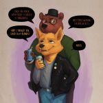 1:1 2019 5_fingers alcohol angus_delaney anthro beer beverage beverage_can biped black_jacket black_nose brown_fur canid canine claws clothed clothing couple_(disambiguation) dialogue duo english_text eyewear fox fully_clothed fur glasses gregg_lee grey_background hat headgear headwear hi_res humor jacket jeans leather leather_jacket looking_down looking_up male male/male mammal night_in_the_woods pants pun rov simple_background smile speech_bubble standing text topwear ursid video_games yellow_fur