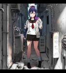 1girl alley bag black_cat blue_hair can cardigan cat cellphone flower_pot holding holding_phone loafers long_hair long_sleeves looking_at_viewer nijisanji phone pleated_skirt ponytail school_bag school_uniform serafuku shizuka_rin shoes skirt smartphone socks solo standing ume_(yume_uta_da) virtual_youtuber yellow_eyes