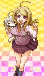 1girl ahoge akamatsu_kaede bangs blonde_hair breasts brown_footwear brown_neckwear character_doll checkered checkered_floor collared_shirt danganronpa doll_on_shoulder grey_legwear keebo kneehighs long_hair long_sleeves looking_at_viewer medium_breasts miniskirt musical_note musical_note_hair_ornament musical_note_print new_danganronpa_v3 pleated_skirt print_skirt purple_eyes purple_skirt purple_sweater shiny shiny_hair shirt skirt solo standing sweater sweater_vest swept_bangs white_shirt wing_collar yumaru_(marumarumaru)