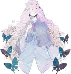 1girl artist_name blue_dress bow braid bug butterfly cloak closed_mouth commentary demon demon_girl dress face_mask flower hand_on_own_chest harowharow hidden_eyes horned_mask horns insect mask musica_(yakusoku_no_neverland) pink_hair purple_cloak simple_background sketch smile solo standing twin_braids white_background wide_sleeves yakusoku_no_neverland