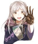 1girl book brown_eyes brown_gloves female_my_unit_(fire_emblem:_kakusei) fire_emblem fire_emblem:_kakusei gloves highres holding holding_book hood hood_down long_sleeves my_unit_(fire_emblem:_kakusei) open_mouth simple_background solo tpicm twintails upper_body white_background white_hair