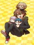 1boy :d ahoge black_jacket black_pants brown_hair character_doll checkered checkered_background danganronpa danganronpa_1 doll_on_head green_eyes green_sweater hair_between_eyes hood hood_down hooded_sweater jacket kirigiri_kyouko long_sleeves looking_at_viewer maizono_sayaka male_focus naegi_makoto open_mouth pants red_footwear shoes smile sneakers solo sweater togami_byakuya yellow_background yumaru_(marumarumaru)