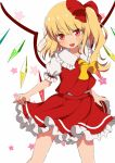 1girl :d blonde_hair blush contrapposto cowboy_shot cravat eyebrows_visible_through_hair flandre_scarlet frilled_shirt_collar frilled_skirt frills hair_between_eyes hair_ribbon hat head_tilt lifted_by_self looking_at_viewer mob_cap no_hat no_headwear open_mouth puffy_short_sleeves puffy_sleeves red_eyes red_skirt red_vest ribbon shirt short_hair short_sleeves side_ponytail skirt skirt_lift smile solo standing star starry_background touhou upper_teeth vest white_background white_shirt wings yellow_neckwear yuimari