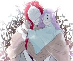 1boy 1girl blue_sleeves branch cloak closed_mouth commentary demon demon_boy demon_girl face_mask hand_on_shoulder happy harowharow hidden_eyes horn horned_mask horns hug leaf long_hair long_sleeves looking_at_viewer mask musica_(yakusoku_no_neverland) open_mouth purple_hair red_hair simple_background smile standing sung-joo_(yakusoku_no_neverland) white_background wide_sleeves yakusoku_no_neverland