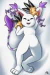 2019 2:3 anthro claws clothing dakimakura_design digimon digimon_(species) digital_media_(artwork) eyes_closed featureless_crotch felid female fur gatomon gloves hi_res mammal simple_background smile solo sruto text white_fur
