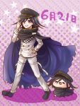 1boy black_cape black_footwear black_hair black_headwear cape character_doll danganronpa eyebrows_visible_through_hair full_body hair_between_eyes hand_on_hip hat index_finger_raised jacket long_sleeves looking_at_viewer male_focus new_danganronpa_v3 ouma_kokichi pants peaked_cap purple_background purple_eyes solo thigh_strap white_jacket white_pants yumaru_(marumarumaru)