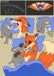 absurd_res bite breasts canid canine comic disney ear_bite featureless_breasts female fox gaping_mouth hi_res hug judy_hopps lagomorph leporid male male/female mammal nick_wilde nude pillow rabbit saliva saliva_string shadowponi sharp_teeth sleeping teeth zootopia