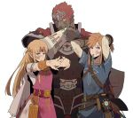 1girl 2boys abs adjusting_hair armor arms_up belt blonde_hair blue_eyes bow_(weapon) bracelet bracer bruise_on_face cape circlet dark_skin dark_skinned_male dirty_clothes dirty_face earrings flexing ganondorf gerudo highres jewelry link mouth_hold multiple_boys nintendo pointy_ears pose princess_zelda red_hair redlhzz sheikah_slate shield shirt short_hair standing stretch super_smash_bros. super_smash_bros._ultimate the_legend_of_zelda the_legend_of_zelda:_breath_of_the_wild tiara toned toned_male torn_clothes triforce weapon