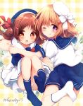 2girls :o ;q bangs beret blue_headwear blue_legwear blue_sailor_collar blue_shirt blue_skirt blush bow brown_eyes brown_hair closed_mouth commentary_request eyebrows_visible_through_hair floral_background flower gochuumon_wa_usagi_desu_ka? hair_between_eyes hair_bow hair_bun hair_ornament hairclip haru_ichigo hat hoto_cocoa long_hair mini_hat multiple_girls natsu_megumi no_shoes one_eye_closed open_mouth plaid plaid_background pleated_skirt purple_eyes red_bow sailor_collar shirt side_bun skirt smile socks soles tilted_headwear tongue tongue_out twitter_username white_bow white_flower white_headwear white_legwear white_sailor_collar white_shirt white_skirt