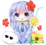 1girl angora_rabbit animal ass_visible_through_thighs bangs bendy_straw blue_eyes blue_footwear blue_hair blue_jacket blue_swimsuit blush bunny chestnut_mouth chibi commentary_request covered_navel cup drawstring drink drinking_glass drinking_straw eyebrows_visible_through_hair flower food gochuumon_wa_usagi_desu_ka? hair_between_eyes hair_flower hair_ornament hood hood_down hooded_jacket ice_cream in_container in_cup jacket kafuu_chino kouda_suzu long_hair long_sleeves looking_at_viewer minigirl name_tag old_school_swimsuit one-piece_swimsuit open_clothes open_jacket open_mouth red_flower sandals school_swimsuit sleeves_past_wrists sunglasses swimsuit swimsuit_under_clothes tippy_(gochiusa) very_long_hair white_background x_hair_ornament yellow_flower