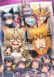 3girls :3 :d ^_^ against_glass animal_ear_fluff animal_ears artist_request bangs black-framed_eyewear black_hair black_neckwear blonde_hair blue_jacket bow bowtie caracal_(kemono_friends) cat_ears character_doll closed_eyes commentary_request copyright_name crane_game drooling elbow_gloves emperor_penguin_(kemono_friends) extra_ears ezo_red_fox_(kemono_friends) fox_ears fur-trimmed_sleeves fur_trim gentoo_penguin_(kemono_friends) glasses gloves grey_hair habu_(kemono_friends) hair_between_eyes humboldt_penguin_(kemono_friends) jacket kemono_friends long_hair lucky_beast_(kemono_friends) margay_(kemono_friends) margay_print multicolored_hair multiple_girls necktie official_art open_mouth orange_eyes orange_jacket poster_(object) print_gloves print_neckwear rockhopper_penguin_(kemono_friends) royal_penguin_(kemono_friends) serval_(kemono_friends) shirt short_hair silver_fox_(kemono_friends) sleeveless sleeveless_shirt smile stuffed_toy sweatdrop two-tone_hair v-shaped_eyebrows white_neckwear white_shirt yellow_neckwear
