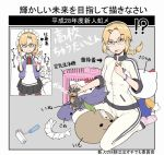 1girl blonde_hair braid breasts brown_eyes closed_mouth directional_arrow dog double_v frown glasses gloves hair_ornament hairclip highres ina_(gokihoihoi) looking_at_viewer medium_hair mole mole_under_mouth necktie original pink_legwear red_neckwear seiza short_braid sitting small_breasts socks solo striped striped_legwear translation_request v white_gloves white_legwear