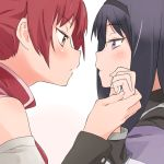 2girls akemi_homura bangs black_hair black_headwear blush capelet detached_sleeves eyebrows_visible_through_hair face-to-face headband highres holding_hands long_hair long_sleeves looking_at_another mahou_shoujo_madoka_magica multiple_girls purple_eyes red_hair sakura_kyouko simple_background tied_hair uasi white_background yuri
