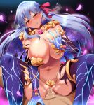 1boy 1girl absurdres areola_slip areolae armor bare_shoulders bikini_armor blush breasts cowgirl_position cum cum_in_pussy earrings elbow_gloves eyebrows_visible_through_hair fate/grand_order fate_(series) gloves hair_between_eyes hair_ribbon hetero highres huge_breasts jewelry kama_(fate/grand_order) long_hair looking_at_viewer overflow parted_lips penis pov_crotch purple_legwear pussy red_eyes red_ribbon revealing_clothes ribbon self_fondle sex silver_hair smile solo_focus spread_legs straddling sweat thighhighs umakatsuhai vaginal