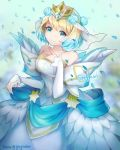 1girl bare_shoulders blonde_hair blue_eyes blue_hair closed_mouth crown dress earrings feather_trim fire_emblem fire_emblem_heroes fjorm_(fire_emblem_heroes) flower gradient_hair greyradian hair_flower hair_ornament hand_up highres jewelry long_sleeves looking_at_viewer multicolored_hair short_hair smile solo standing twitter_username white_dress