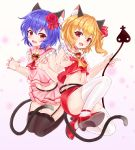 2girls adapted_costume animal_ear_fluff animal_ears ascot bangs bare_arms bare_shoulders black_legwear blonde_hair blue_hair breasts brooch bushi_(1622035441) cat_ears cat_tail choker claw_pose commentary_request crop_top eyebrows_visible_through_hair fang flandre_scarlet flower frilled_shirt_collar frills garter_straps gradient gradient_background hair_flower hair_ornament hair_ribbon high_heels highres jewelry kemonomimi_mode laevatein looking_at_viewer midriff miniskirt multiple_girls navel no_hat no_headwear one_side_up pencil_skirt pink_background pink_sailor_collar pink_shirt pink_skirt pleated_skirt red_choker red_eyes red_flower red_footwear red_neckwear red_ribbon red_rose red_skirt red_vest remilia_scarlet ribbon rose sailor_collar seiza shirt short_hair siblings sisters sitting skirt skirt_set sleeveless sleeveless_shirt small_breasts tail thighhighs thighs touhou vest white_background white_legwear yellow_neckwear zettai_ryouiki