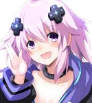 1girl :d adult_neptune black_choker blush breasts choker cleavage collarbone d-pad d-pad_hair_ornament doria_(5073726) hair_between_eyes hair_ornament hand_gesture hood hooded_jacket jacket long_hair looking_at_viewer neptune_(series) open_mouth purple_eyes purple_hair shin_jigen_game_neptune_vii simple_background smile solo upper_body white_background