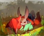 2016 anthro bite blood bodily_fluids canid canine claws digital_media_(artwork) disney duo eyes_closed female feral fox judy_hopps lagomorph leporid long_ears lying male mammal nick_wilde on_back outside rabbit red_eyes scratch snap teeth zootopia 悪果