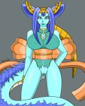 asian bedroom_eyes big_breasts blue_hair blue_skin bracelet breasts canastus clothing crown dragon dragon_ball dragon_ball_gt dress ear_piercing female fur hair half-closed_eyes half_naked humanoid japanese_clothing jewelry kimono lipstick long_hair long_tail looking_at_viewer makeup monster_girl_(genre) oceanus_shenron piercing pinup pose pussy ribbons seductive simple_background smile solo spikes tiara villainous wide_hips