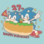 1:1 anthro birthday black_eyes blue_fur buke3jp clothing duo english_text eulipotyphlan flag food footwear fur gesture giant_food gloves green_eyes handwear happy hedgehog hi_res hot_dog male mammal open_mouth open_smile shoes smile sonic_(series) sonic_the_hedgehog sparkles square_crossover text v_sign