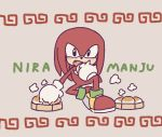 anthro black_eyes buke3jp clothing dumpling eating echidna food footwear fur gloves handwear holding_food holding_object knuckles_the_echidna male mammal monotreme open_mouth red_fur shoes simple_background sitting solo sonic_(series) steam text