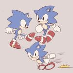 anthro black_eyes blue_fur buke3jp clothing eulipotyphlan footwear fur gloves handwear hedgehog male mammal motion_lines running shoes simple_background smile solo sonic_(series) sonic_the_hedgehog tan_background walking