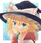 1girl :/ alternate_eye_color arm_up between_fingers blonde_hair blue_background blue_eyes blush bow braid breath commentary_request eyebrows_visible_through_hair face fingernails frilled_bow frills green_bow hair_between_eyes hair_ribbon hand_in_hair hat hat_ribbon kirisame_marisa long_sleeves looking_at_viewer medium_hair red_scarf ribbon scarf shirt single_braid snowing solo taker_(flamestorm) touhou tress_ribbon upper_body white_bow white_shirt witch_hat