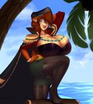 2018 anthro belise94 big_breasts black_nose bra bracelet breasts brown_hair cleavage cloak clothed clothing cloud coconut detailed_background epaulette eulipotyphlan eyewear female food footwear fruit fully_clothed glasses green_eyes hair hand_behind_head hand_on_hip hat hedgehog hi_res high_heels huge_breasts jacket jewelry looking_at_viewer mammal one_eye_closed open_mouth open_smile outside palm_tree pants pirate shoes short_hair sky smile solo superia teeth thigh_boots tongue treasure_chest tree underwear water wink