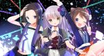 >:) 3girls :o ;d alternate_eye_color arm_up bang_dream! bangs belt black_choker black_hair black_neckwear blue_eyes blue_flower blue_jacket blue_rose bow bowtie brown_hair chest_belt choker collared_dress confetti dress flower hair_flower hair_ornament hand_in_hair hand_on_own_chest hat highres jacket koh_(user_kpcu7748) layer_(bang_dream!) long_hair looking_at_viewer minato_yukina mini_hat miniskirt multiple_girls no_bangs one_eye_closed open_mouth purple_flower purple_rose red_skirt rose short_sleeves silver_hair skirt smile star star_hair_ornament toyama_kasumi v v-neck vest wrist_cuffs yellow_eyes