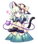 1girl :3 animal_ear_fluff animal_ears bow cat_ears cat_tail commentary frilled_shirt_collar frilled_sleeves frills green_eyes green_hair green_skirt hat hat_bow heart heart-shaped_pupils kemonomimi_mode komeiji_koishi long_hair long_sleeves looking_at_viewer miy_001 shirt simple_background skirt sleeves_past_fingers sleeves_past_wrists smile solo symbol-shaped_pupils tail tilted_headwear touhou wavy_hair white_background wide_sleeves yellow_bow yellow_shirt